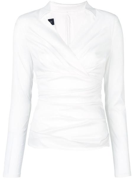 Talbot Runhof top wrap top women spandex white silk