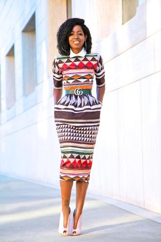 blogger dress belt shoes geometric midi dress booties