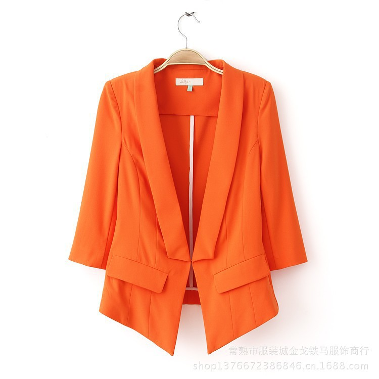 Online shop 2015 orange color casual dress blazer women feminin plus size hidden breasted three quarter blaser slim fit women blazers&jacket