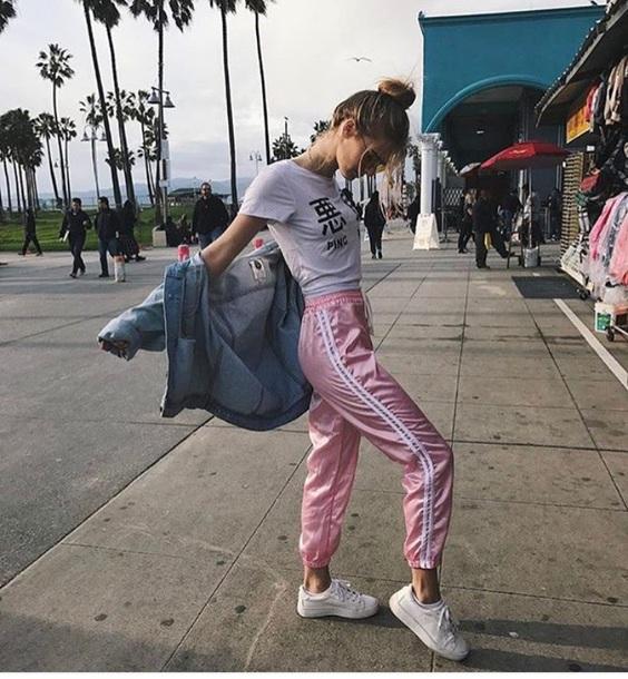 pants pink silk joggers