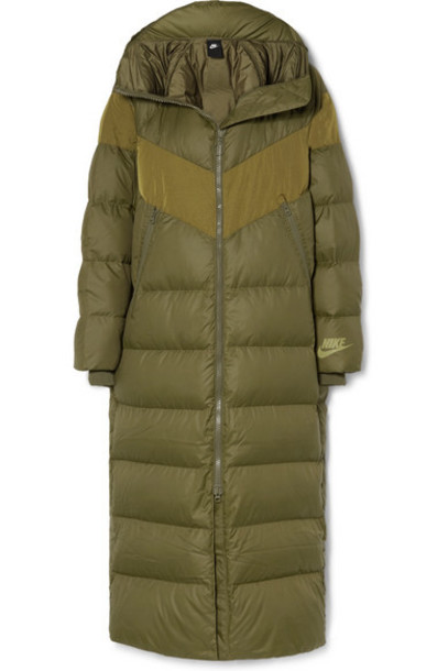 Nike - Hooded Quilted Shell Down Coat - Army green