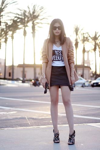fake leather coat skirt t-shirt jewels shoes sunglasses