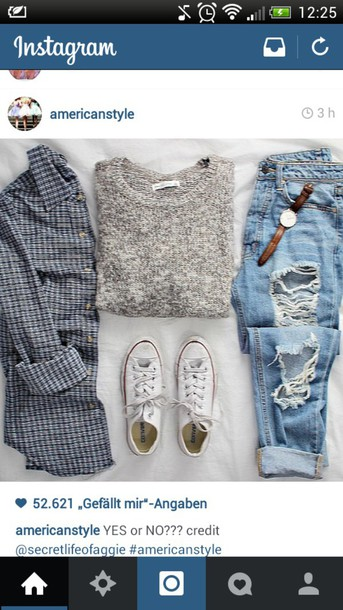 blouse jeans sweater knit casual