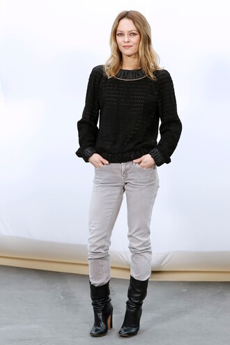 blouse top jeans paris fashion week 2017 fashion week 2017 vanessa paradis