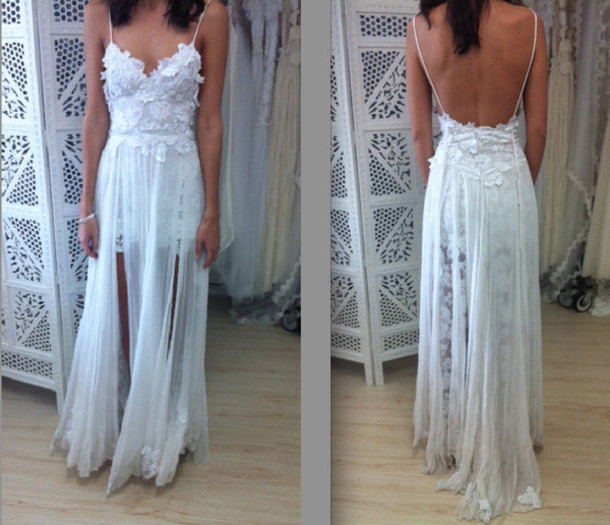 Dress: white, lace, maxi, low back, long, chiffon, sheer, floral, ivory, wedding, prom, formal