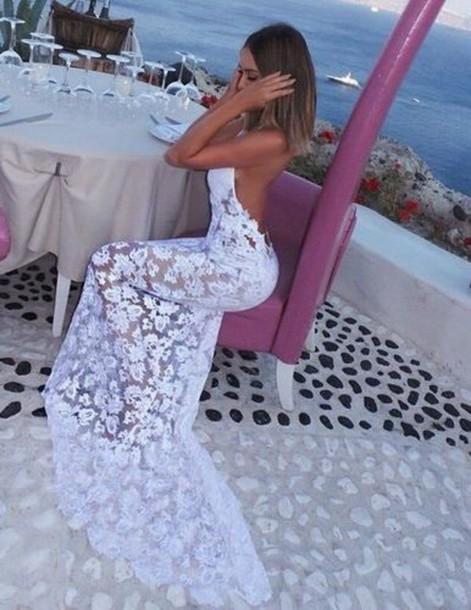 dress white dress prom dress lace dress white lace dress white long dress holiday dress