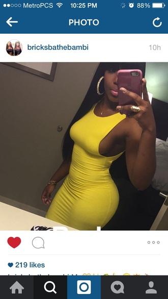 dress yellow bright tight maxi dress cute open sides