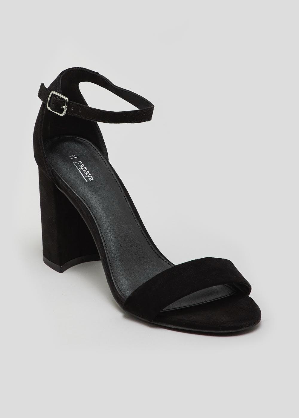 Block Heel Strappy Sandals – Black