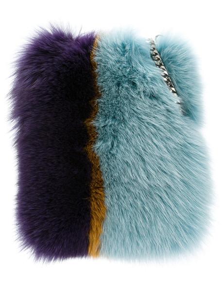 mini fur fox women bag mini bag blue
