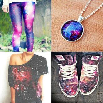 t-shirt galaxy print jewels shoes