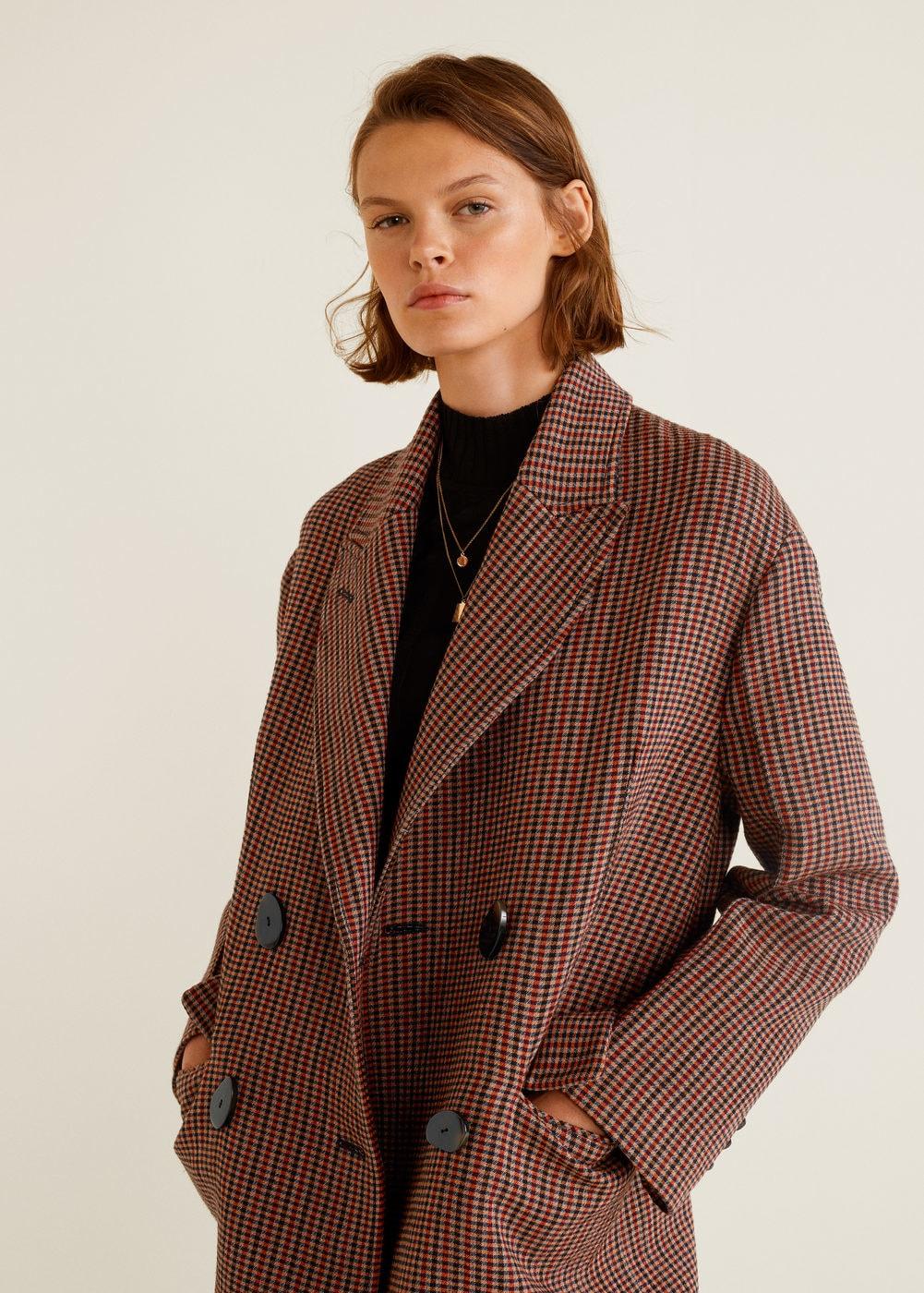 Double-breasted check coat - Women | MANGO United Kingdom