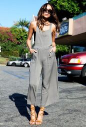 jumpsuit,cropped jumpsuit,grey jumpsuit,cropped,sandals,sandal heels,high heel sandals,camel sandals,sunglasses,black sunglasses,tube top,top,overalls,ashley madekwe,celebrity,blogger