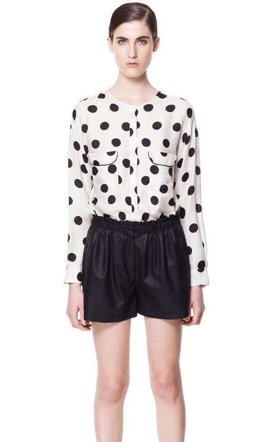 White Long Sleeve Polka Dot Pockets Chiffon Blouse - Sheinside.com
