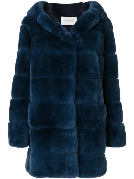 Yves Salomon coat fur coat fur women silk