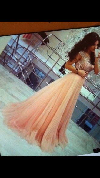 dress peach dress pink dress flowy dress long dress prom dress wedding dress sequin dress
