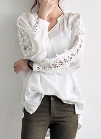 blouse white crochet lace top cute casual chiffon flowy long sleeves