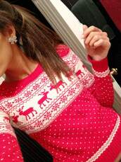 pink swimwear,pink sweater,jewels,abercrombie & fitch,sweater,christmas,red christmas sweater,red,cozy,pinterest,ponytail,bow,deer,horse,red wh,oversized,warm,open back,snowflake,zara,style,blogger,red color,moose,white,moose sweater