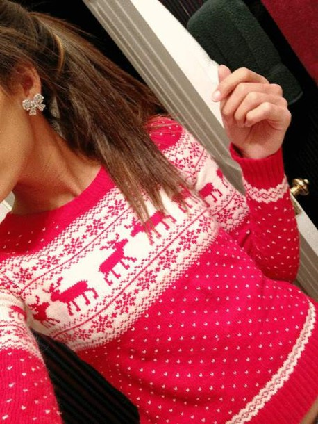 pink swimwear pink sweater jewels abercrombie & fitch sweater christmas red christmas sweater red cozy pinterest ponytail bow deer horse red wh oversized warm open back snowflake zara style blogger red color moose white moose sweater