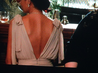 dress movie spy melissa mccarthy  movie i.e. bows on shoulders long gown gown champagne colour nude silk silk dress deep v back draped dress