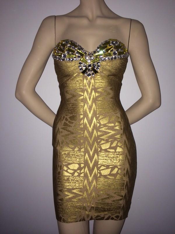 dress gold rhinestone bandage dress