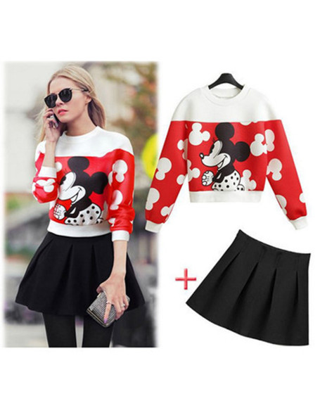 skirt mickey mouse top set mickey sweater mickey top