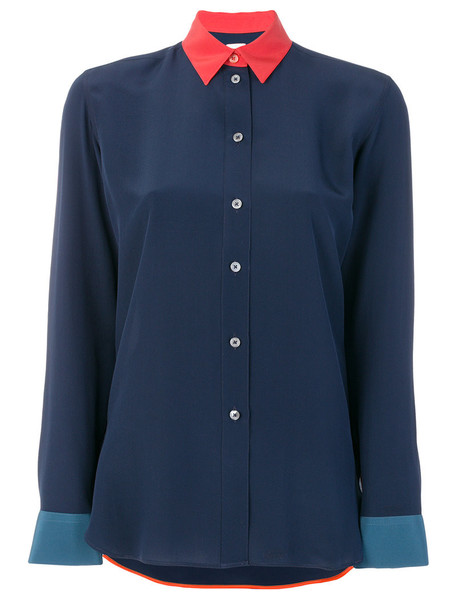 Paul Smith - contrast collar shirt - women - Silk/Cupro - 44, Blue, Silk/Cupro
