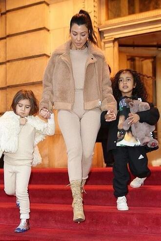 leggings nude kourtney kardashian boots kardashians jacket sweater top streetstyle celebrity