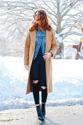 prosecco and plaid,blogger,black ripped jeans,camel coat,denim jacket