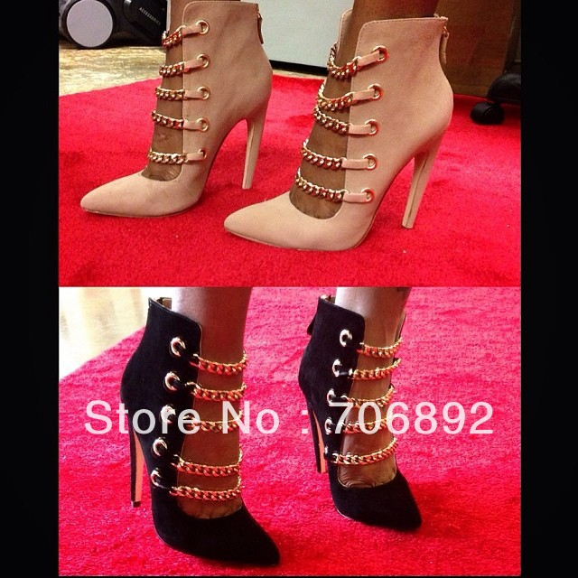 gladiator boots black/beige chain boot with high heel dress shoe cutout bootie sandals-in Boots from Shoes on Aliexpress.com