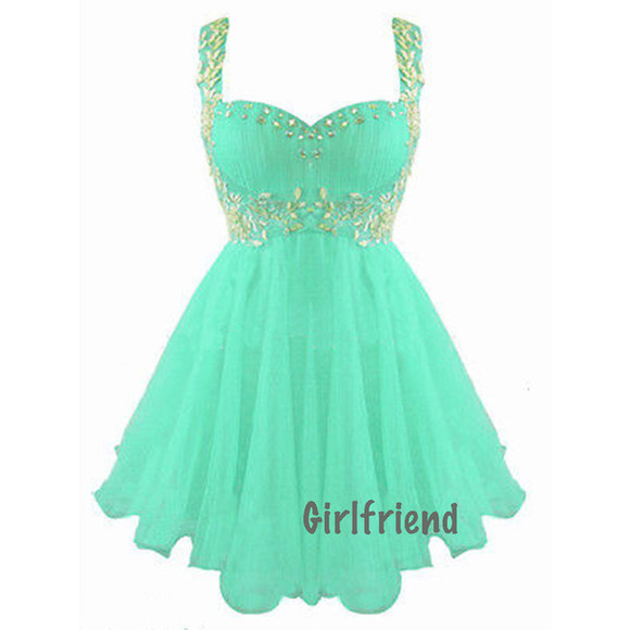 dress sweetheart neckline aqua puffy short prom dress silver dimonds