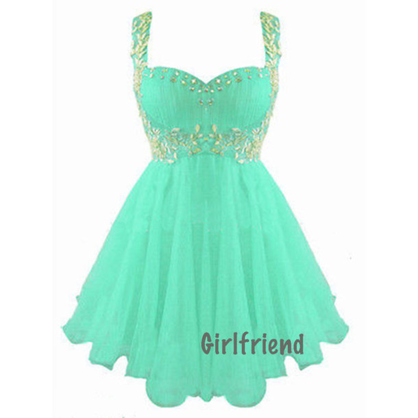 Dress: sweetheart neckline, aqua, puffy, short prom dress, silver ...