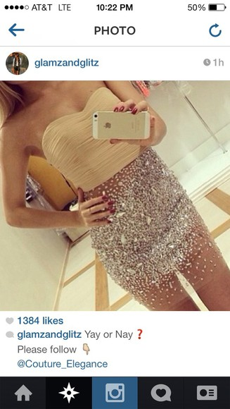 dress strapless dress glitter dress rhinestone dress