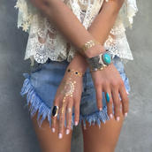 jewels,bohemian,beach,jewelry,ring,tattoo,shorts,lace top,bracelets,indie,boho,summer outfits,outfit,lookbook,spring,spring break,spring outfits,cute,girly,metallic tattoo,top,temporary tattoo,nail accessories,make-up,www.ebonylace.net,ebonylacefashion,statement bracelet