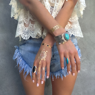 jewels bohemian beach jewelry ring tattoo shorts lace top bracelets indie boho summer outfits outfit lookbook spring spring break spring outfits cute girly metallic tattoo top temporary tattoo nail accessories make-up www.ebonylace.net ebonylacefashion statement bracelet