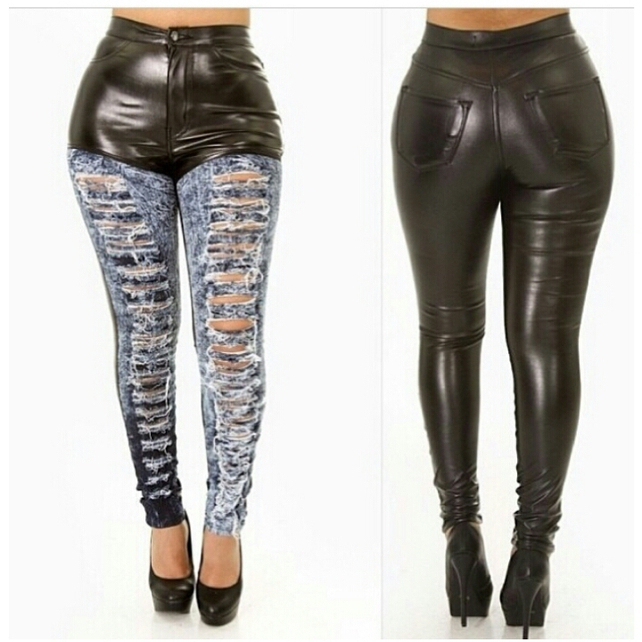 High waist faux leather jeans / cecebtq