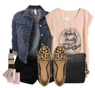 shirt marilyn monroe top denim jacket shorts leopard print flats coat shoes