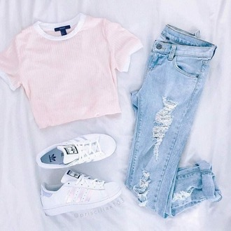 jeans adidas shoes pink ripped jeans white style lookbook cute outfit shirt spring warm light jeans light pink