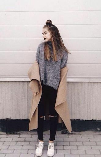 coat beige coat shirt grunge dark dark grunge grey ripped jeans aesthetic soft grunge coachella