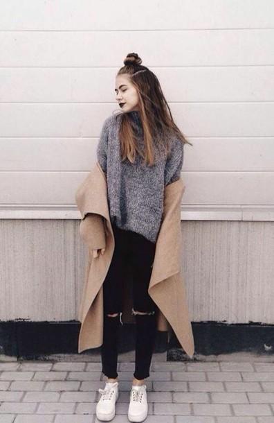 Jacket: coat, beige coat, shirt, grunge, dark, dark grunge ...