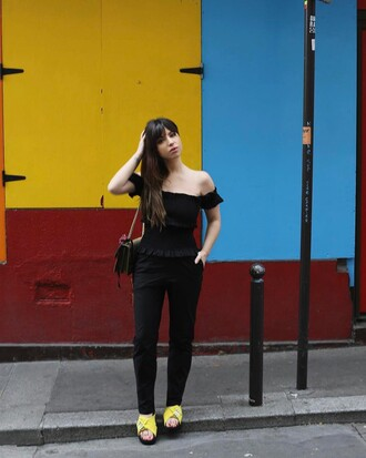 top french girl black top off the shoulder off the shoulder top pants black pants shoes yellow yellow shoes bag black bag
