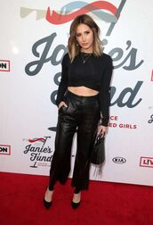 top,all black everything,ashley tisdale,pants,pumps,spring outfits,celebrity