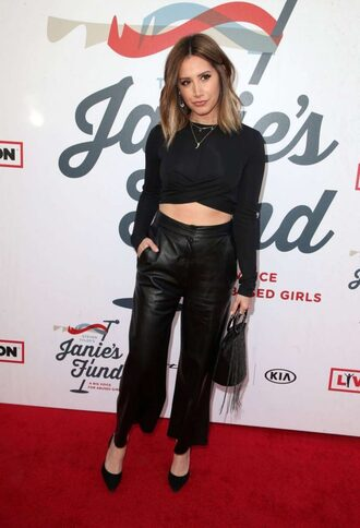 top all black everything ashley tisdale pants pumps spring outfits celebrity