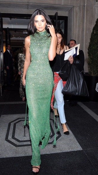 dress calvin klein dress calvin klein maxi dress long prom dress sleeveless dress green dress red carpet dress sandals bodycon dress kendall jenner celebrity model
