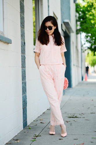 hallie daily pants bag shoes sunglasses eyelet top eyelet detail pink top short sleeve pink pants all pink wishlist all pink outfit all pink everything pink shoes pointed toe pumps pumps pink bag spring outfits