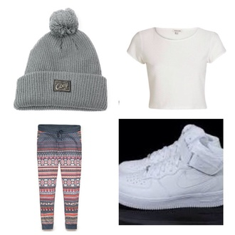 tribal pattern beanie hat dope white crop tops pants