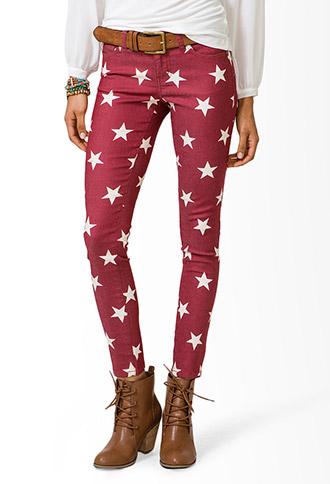 Star Print Skinny Jeans | FOREVER 21 - 2031580101