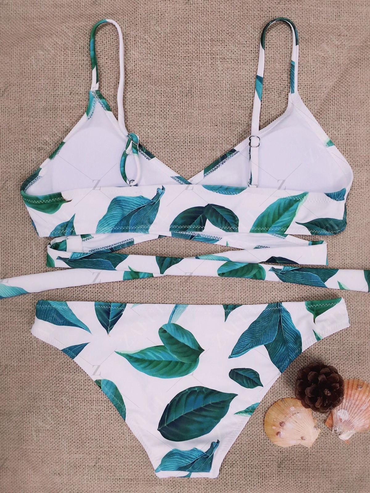 Leaf Print Halter Wrapped Bikini Set
