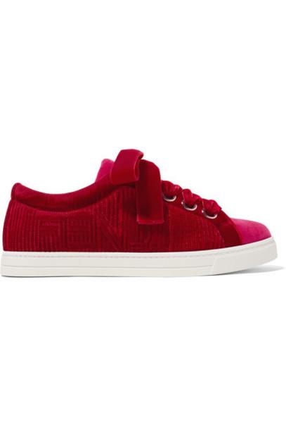 Fendi sneakers velvet red shoes