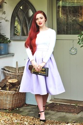 briar rose,blogger,lilac,midi skirt,pouch,red hair,skirt,bag,top,shoes
