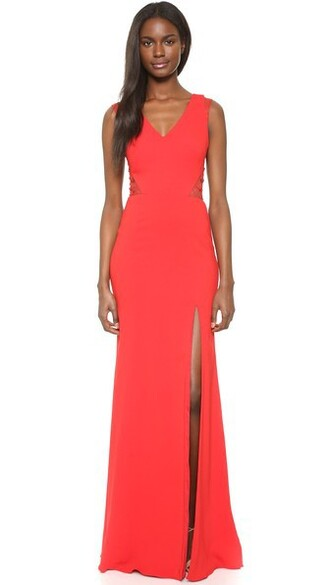 gown sleeveless slit red dress